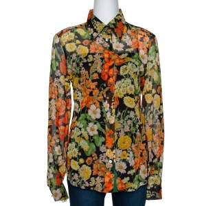 Dolce & Gabbana Multicolor Floral Print Cotton Shirt L