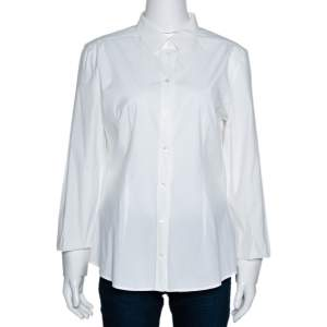 Dolce & Gabbana Off White Stretch Cotton Shirt L