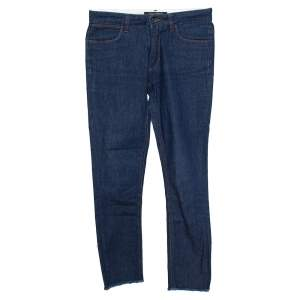 Dolce & Gabbana Blue Denim Frayed Hem Slim Fit Jeans S