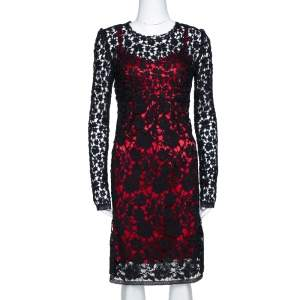 Dolce & Gabbana Black Embroidered Lace Contrast Lined Long Sleeve Dress S