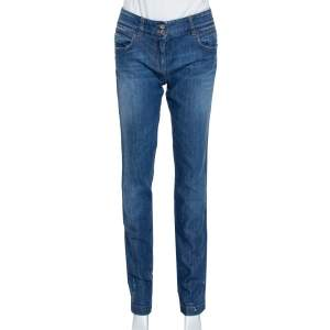 Dolce & Gabbana Blue Denim Paint Splattered Straight Leg Jeans M