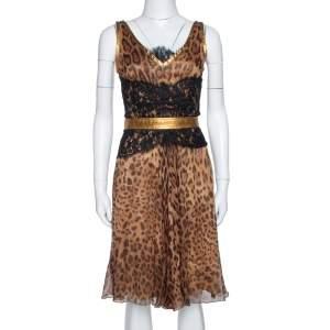 Dolce & Gabbana Brown Animal Print Chiffon Belted Sleeveless Dress S