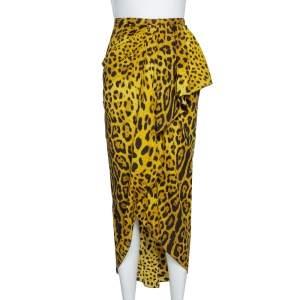 Dolce & Gabbana Chartreuse Leopard Print Silk Draped Midi Skirt L