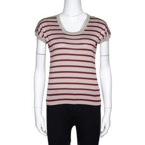 Dolce & Gabbana Beige Striped Silk Knit Top M