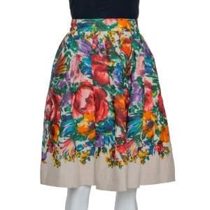 Dolce & Gabbana Beige Floral Print Linen Flared Skirt M
