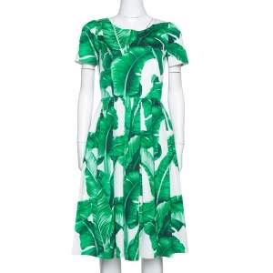 فستان ميدي دولتشي \اند غابانا بانانا ليف أخضر وأبيض مقاس متوسط - ميديوم