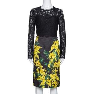 Dolce & Gabbana Black Mimosa Print Brocade And Lace Dress M
