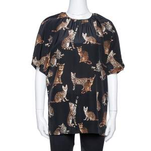 Dolce & Gabbana Black Cat Print Silk Short Sleeve Blouse M