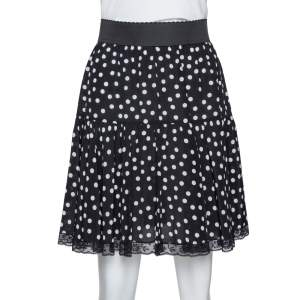 Dolce & Gabbana Black Polka Dot Silk Lace Trim Flared Skirt M