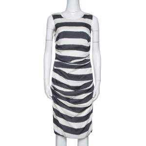 Dolce & Gabbana Monochrome Striped Stretch Silk Ruched Dress L