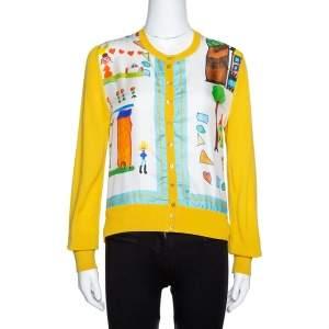Dolce & Gabbana Yellow Printed Silk & Cashmere Knit Cardigan M