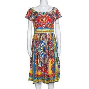 Dolce & Gabbana Multicolor Sicilian Print Cotton Flared Dress M