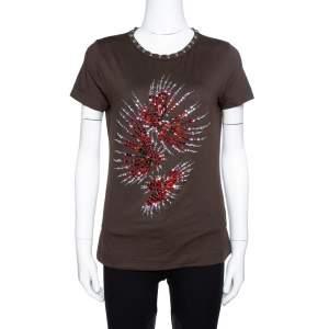 Dolce & Gabbana Brown Jersey Embellished T-Shirt M