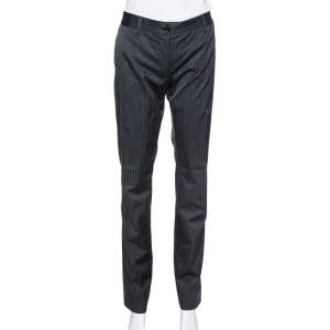 Dolce & Gabbana Black Pinstriped Cotton Tailored Pants M