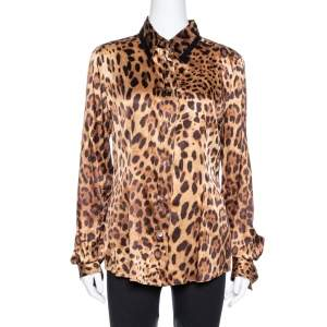 Dolce & Gabbana Brown Leopard Print Silk Button Front Shirt L