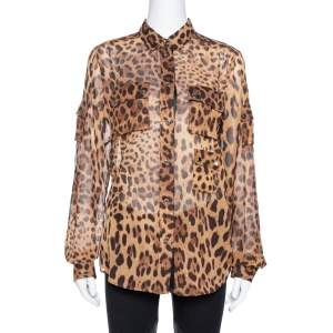 Dolce & Gabbana Brown Leopard Print Cotton & Silk Button Front Shirt M
