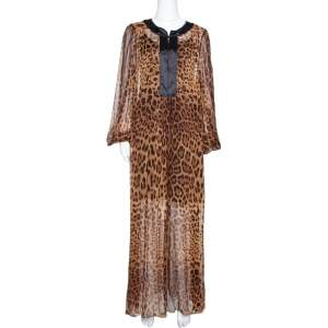 Dolce & Gabbana Brown Leopard Print Silk Sheer Kaftan Dress M