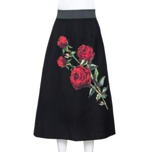 Dolce & Gabbana Black Wool Rose Appliqued A-Line Skirt M