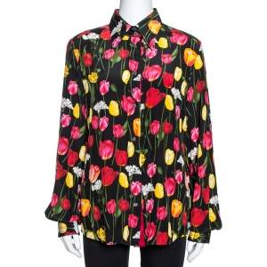 Dolce & Gabbana Black Tulip Print Silk Long Sleeve Shirt L