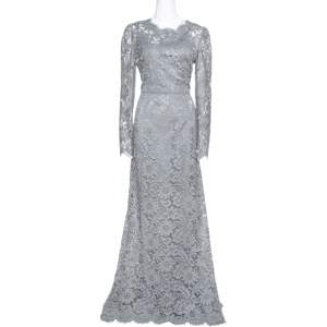 Dolce & Gabbana Grey Floral Corded Lace Maxi Dress L