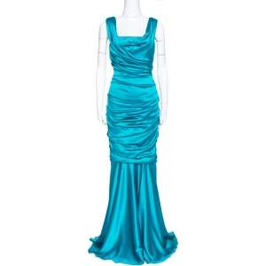 Dolce & Gabbana Turquoise Blue Silk Satin Ruched Maxi Dress L