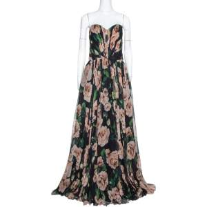Dolce & Gabbana Black Rose Print Silk Gathered Strapless Dress L