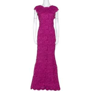 Dolce & Gabbana Magenta Corded Lace Plunge Back Maxi Dress L
