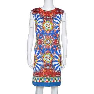 Dolce & Gabbana  Multicolor Caretto Print Sleeveless Shift Dress L