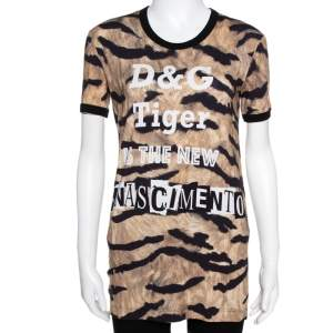 Dolce & Gabbana Brown Tiger Print Jersey T-Shirt XS