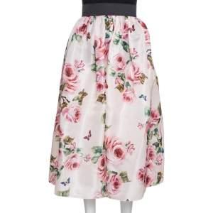 Dolce & Gabbana Pink Rose Print Organdy Silk Midi Skirt M