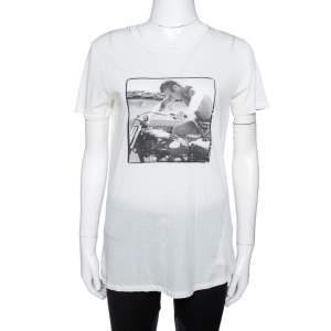Dolce & Gabbana Off White Steve McQueen Print Cotton & Silk T-Shirt M