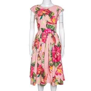 Dolce & Gabbana Pink Rose Print Cotton Flared Dress M