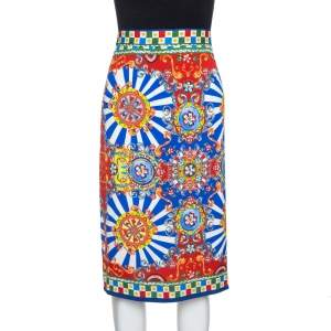 Dolce & Gabbana Multicolor Carretto Siciliano Print Silk Pencil Skirt L