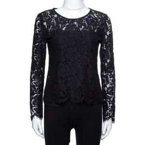 Dolce & Gabbana Black Sheer Lace Scalloped Blouse M
