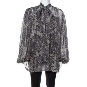 Dolce & Gabbana Grey Paisley Print Silk Bow Tie Blouse M
