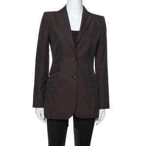Dolce & Gabbana Vintage Dark Brown Cotton Tailored Jacket S