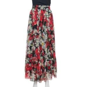 Dolce & Gabbana Black Floral Print Silk Gathered Maxi Skirt L