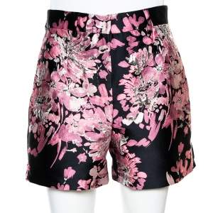 Dolce & Gabbana Pink Floral Lurex Jacquard Shorts S