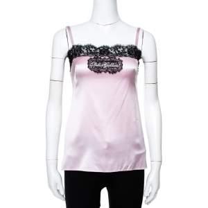 Dolce & Gabbana Pink Silk Satin Logo Lace Trim Camisole XS