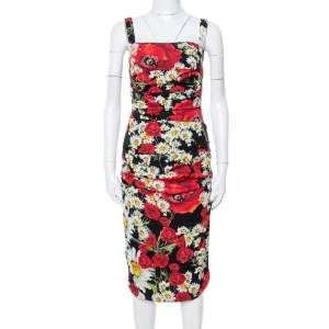 Dolce & Gabbana Black Floral Print Silk Ruched Dress S