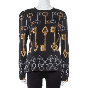 Dolce & Gabbana Black Key Print Silk Long Sleeve Blouse L