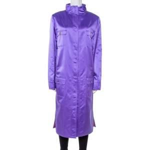 Dolce & Gabbana Purple Silk Satin Button Front Coat L