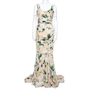 Dolce & Gabbana Cream Floral Print Crepe Ruched Gown M