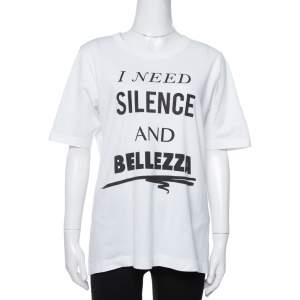 Dolce & Gabbana White I Need Silence Print Cotton T-Shirt S