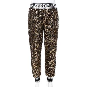 Dolce & Gabbana Gold Sequined Track Trousers S