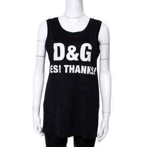 Dolce & Gabbana Black Slogan Print Cotton Tank Top S