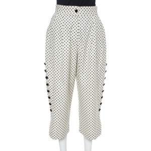 Dolce & Gabbana Cream Cotton Polka Dot Culottes S