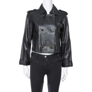 Dolce & Gabbana Black Leather Detachable Collar Detail Jacket S