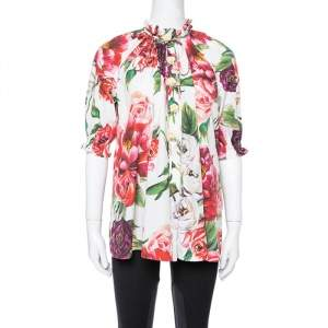 Dolce & Gabbana White Peony Printed Cotton Ruched Detail Oversized Blouse S
