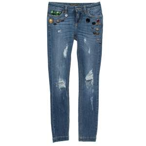 Dolce & Gabbana Blue Distressed Denim Button Embellished Skinny Jeans XS